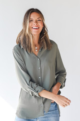 Olive - Button-Up Blouse