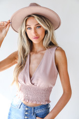 Blush - Dress Up model wearing a Smocked Tank with a wide brim hat