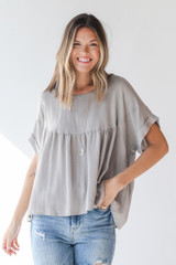 Taupe - Babydoll Blouse