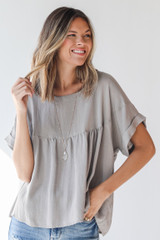Taupe - Babydoll Blouse from Dress Up
