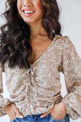 Taupe - Floral Blouse from Dress Up