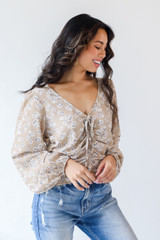 Floral Blouse in Taupe Side View