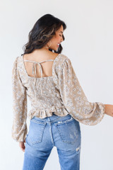 Floral Blouse in Taupe Back View