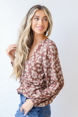 Floral Blouse in Mocha Side View