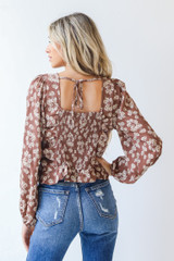 Floral Blouse in Mocha Back View