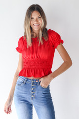 Red - Smocked Blouse from Dress Up