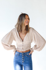 Taupe - Model wearing a Cropped Blouse