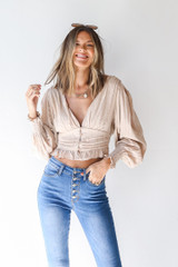 Taupe - Dress Up model wearing a Cropped Blouse