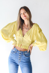 Lime - Cropped Blouse Front View on model