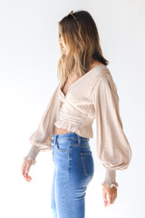 Cropped Blouse in Taupe Side View