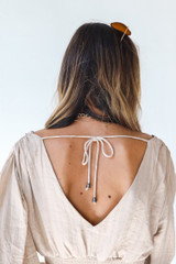 Cropped Blouse in Taupe Back View