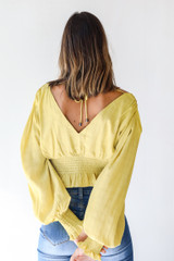 Cropped Blouse in Lime Back View