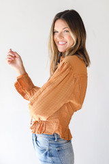 Blouse in Camel Side View
