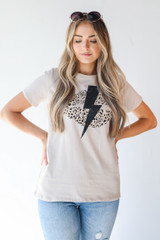 Taupe - Lightning Bolt Graphic Tee