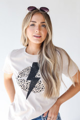 Taupe - Lightning Bolt Graphic Tee from Dress Up