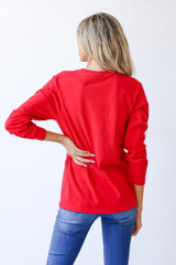 Chop Chop Long Sleeve Tee in Red Back View