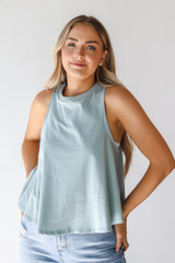 Sage - Dress Up model wearing an Everyday Tank with jeans