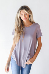 Grey - Everyday Jersey Tee Front View on model