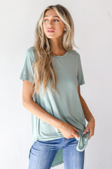 Sage - Dress Up model wearing an Everyday Jersey Tee with jeans