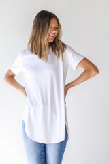 White - Model wearing an Everyday Jersey Tee with denim