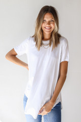 White - Dress Up model wearing an Everyday Jersey Tee with denim