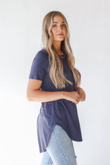 Everyday Jersey Tee in Charcoal Side View