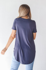 Everyday Jersey Tee in Charcoal Back View