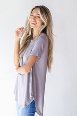 Everyday Jersey Tee in Grey Side View