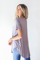 Everyday Jersey Tee in Grey Back View