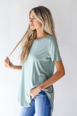 Everyday Jersey Tee in Sage Side View