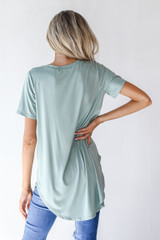 Everyday Jersey Tee in Sage Back View