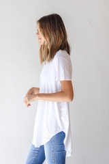 Everyday Jersey Tee in White Side View