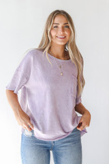 Lavender - Oversized Knit Top Front View
