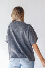 Oversized Knit Top in Charcoal Back View