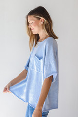Oversized Knit Top in Blue Side View