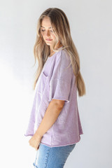 Oversized Knit Top in Lavender Side View