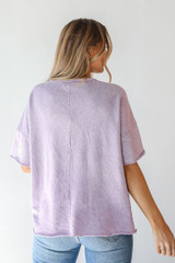 Oversized Knit Top in Lavender Back View