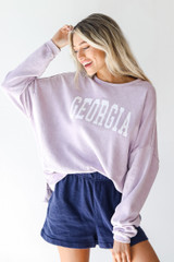 Lavender - Model wearing the Georgia Oversized Pullover