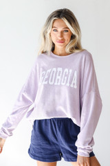 Lavender - Dress Up model wearing the Georgia Oversized Pullover