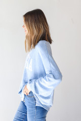 Georgia Oversized Pullover in Blue Side View