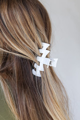 Grey - Dress Up model wearing a Claw Hair Clip