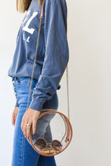 Camel - Clear Circle Crossbody Bag from Dress Up