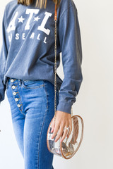 Clear Circle Crossbody Bag in Camel Side View