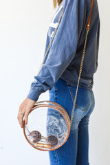 Clear Circle Crossbody Bag in Camel Front View