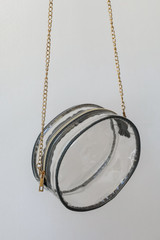 Close Up of a Clear Circle Crossbody Bag in Grey