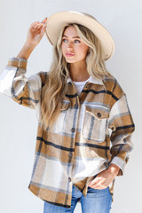 Camel - Plaid Shacket from Dress Up