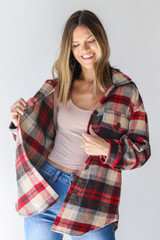 Red - Model wearing a Plaid Shacket