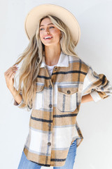 Plaid Shacket in Camel Front View
