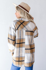 Plaid Shacket in Camel Back View
