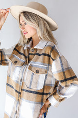 Plaid Shacket in Camel Side View